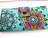 Fabric Checkbook Cover, Holder - Turquoise Medallion