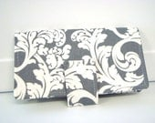 Fabric Checkbook Cover, Checkbook Holder Cash Holder - Gray and White Damask Scrolls