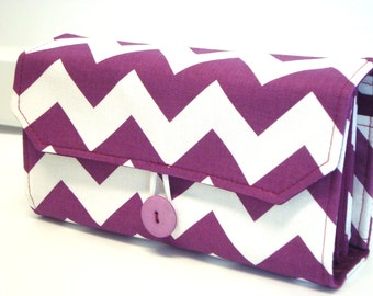 Cash Envelope Wallet  / Dave Ramsey System / ZIPPER Envelopes - Purple and White Chevron Zig Zag