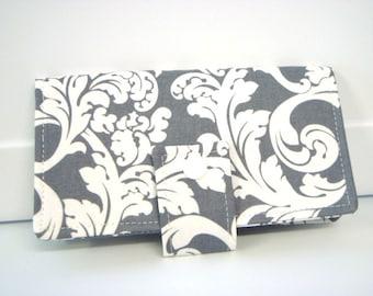 Fabric Checkbook Cover, Checkbook Holder Cash Holder - Gray and White Damask Scrolls