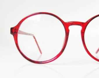 SALE Vintage Round Red P3 Eyeglasses Glasses Womens Ladies Eyeglass Frames Cherry Bright Crimson Deadstock NOS New Old Stock Authentic