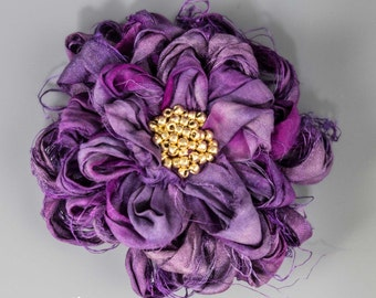 "Violet Sari Silk Flower Brooch, Handmade 3 1/2"" Sari Silk Violet and Purple Flower Brooch, Purple Sari Silk Flower Brooch, Fabric Flower Pin"