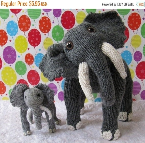SALE 30% OFF Instant Digital File PDF Download Elsie Elephant and Baby Elvis Toy pdf knitting pattern - madmonkeyknits
