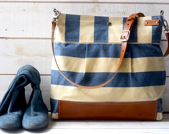 BEST SELLER Diaper bag / Messenger bag WAXED Stockholm Blue geometric nautical striped  Leather / Ikabags Featured on The Martha Stewart L1