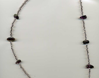 "Infused Seed Beads Purple Chips with ""S"" Clasp Necklace - 24"" - Handcrafted - TD-0303-F"
