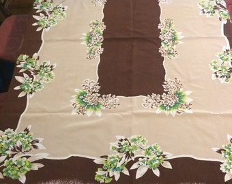 Vintage Mid Century Tablecloth 1950s 40s HYDRANGEA Floral Brown Green Cocoa Chartreuse