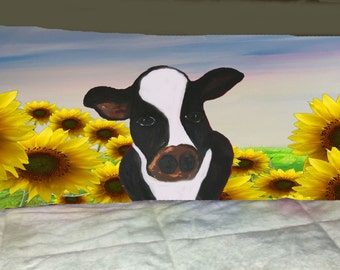 Cows sunflower field  body pillow case from my art