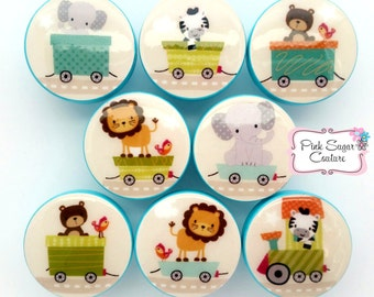 CHOO CHOO EXPRESS Animal Jungle Train Circus Knobs M2M bedding Kids Nursery drawer pulls ... elephant bear zebra lion