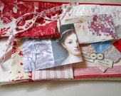 French fabric pieces, Toile, Roses, quilting ticking blanket velvet fabric,patches