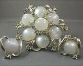 Coro White Moonglow Rhinestone Brooch and Earrings Set
