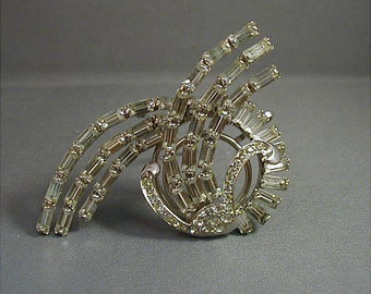 Signed Reis 12K GF Crystal Rhinestone Brooch Pendant