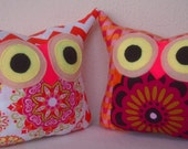 Set of TWO  2 Owl pillows/Aqua/Pink/chevron /Polyfil Stuffed little owl pillows decoration/collection - Ready to ship
