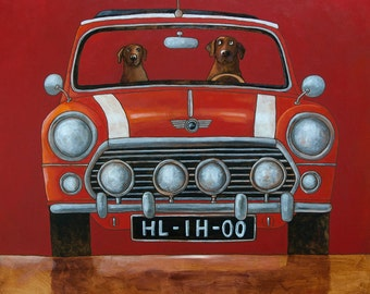 108 Mini Cooper Red - folded art card 15x15cm/6x6inch with envelope