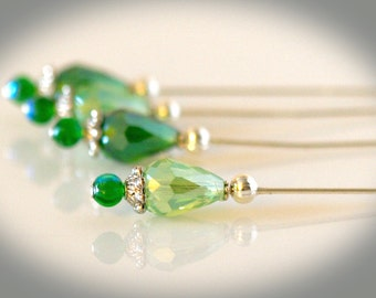Green Beaded Stickpins. Set of Four Hatpins - Crafting Pins