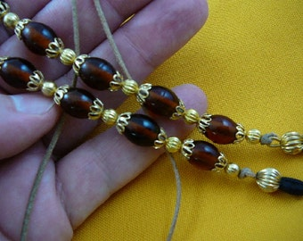 orange Amber colored glass Eyeglass leash holder necklace chain with gold tone bead and filigree cap accents accessory E-200