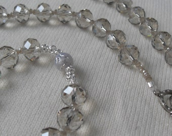 Bride Rosary Quinceanera Czech Crystal Beads Clear Silver Gray Special Pater Beads Italian SIlver Medal and Crucifix