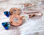 Bohemian Copper Earrings - Copper Bohemian Earrings - Copper Hammered Boho Earrings - Swarovski Earrings - Crystal Earrings - Boho Copper