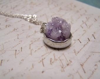 Lavender Druzy Necklace. Druzy Agate Quartz. Simple. Minimalist