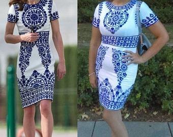 Duchess of Cambridge Kate Middleton Blue India Tour Print Dress