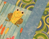FROG Modern Quilt Top - 44 x 44 square - 4 patch - unfinished - froggie - baby quilt