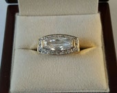 Vintage Sterling Silver Gold Vermiel White Sapphire Ring Size 7