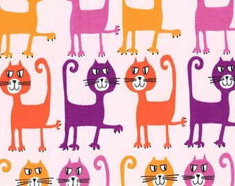 Michael Miller Fabric Dancing Cats Coral Pets a Plenty