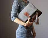 Leather and wool  fold over clutch, fold over bag, fold over purse, wool and brown leather clutch with leather charm tassel
