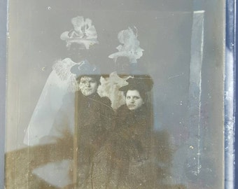 Antique Glass Plate Negative and Negative Print of Attractive  Young Victorian Girls from Rustysecrets