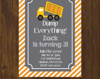 Construction Birthday Invitation, Construction Birthday, Dump Truck Birthday, Dump Truck Invitation, Printable Invitation