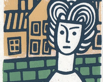 The lady is waiting. Linocut greeting card.