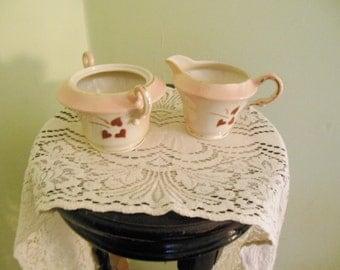 "vintage Syracuse China ""Old Ivory"" pattern sugar bowl & creamer"