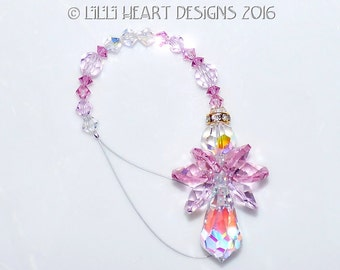 m/w Swarovski Crystal *LITTLE PINKY ANGEL* Discontinued Light Rose and Rosaline Aurora Car Charm SunCatcher Lilli Heart Designs
