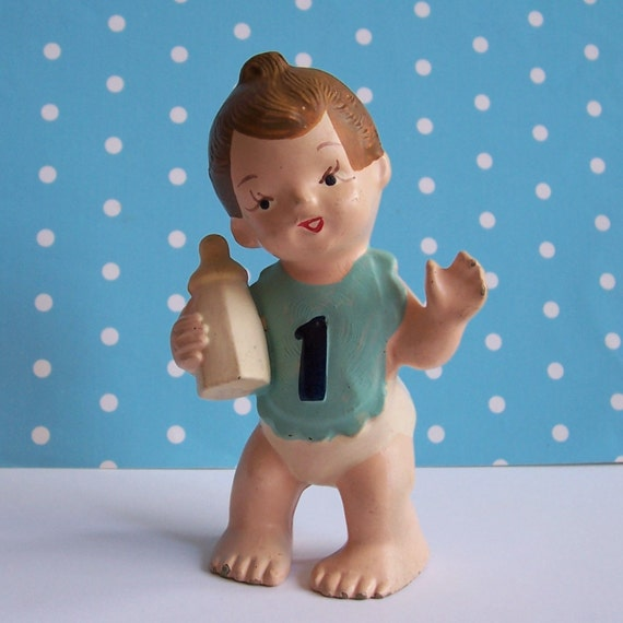 Vintage wilton baby boy one year cake topper holding bottle - Wilton baby shower cake toppers ...