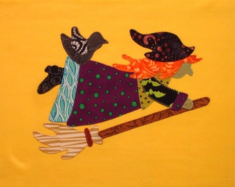 Appliqued Quilt Block, A Halloween Witch on a Broom with a Crow