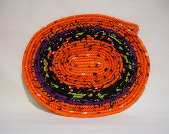 Halloween Oval Coiled Fabric Candle Mat, Halloween Table Mat
