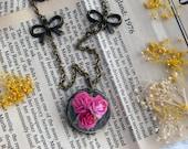 Sharp Pink Terrarium Paradise Rose Necklace