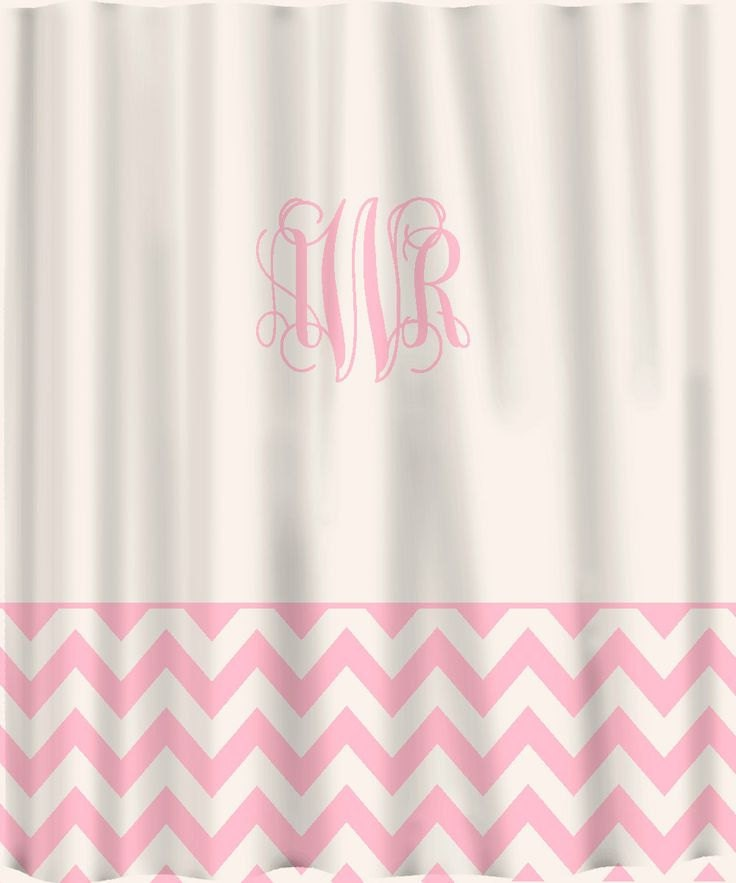 Pink custom shower curtain solid with chevron lower border for Plain pink shower curtain