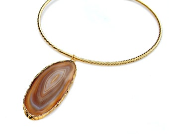 Gold STATEMENT Choker Necklace Sliced Agate Pendant Goddess High Fashion Resort Chic Shiny Golden Rich Style by Mei Faith
