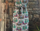 full cover Owl ladies apron fully adjustable ties kitchen apron vintage
