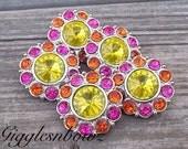 Large Rhinestone Buttons- 5pc SuNNY YeLLOW Orange and Shocking Pink Acrylic Rhinestone Buttons 30mm- Diy Headband Supplies Flower Centers