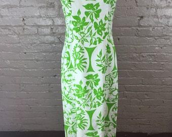 Vintage Green & White Floral Maxi Dress