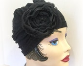 Black Lace Turban - Black Evening Hat - Black Cocktail Hat - Formal Chemo Hat - Speakeasy Turban - Flapper Turban - Black Lace Flower Hat