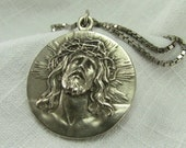 Vintage Christ and Virgin of Guadalupe Silver Medallion