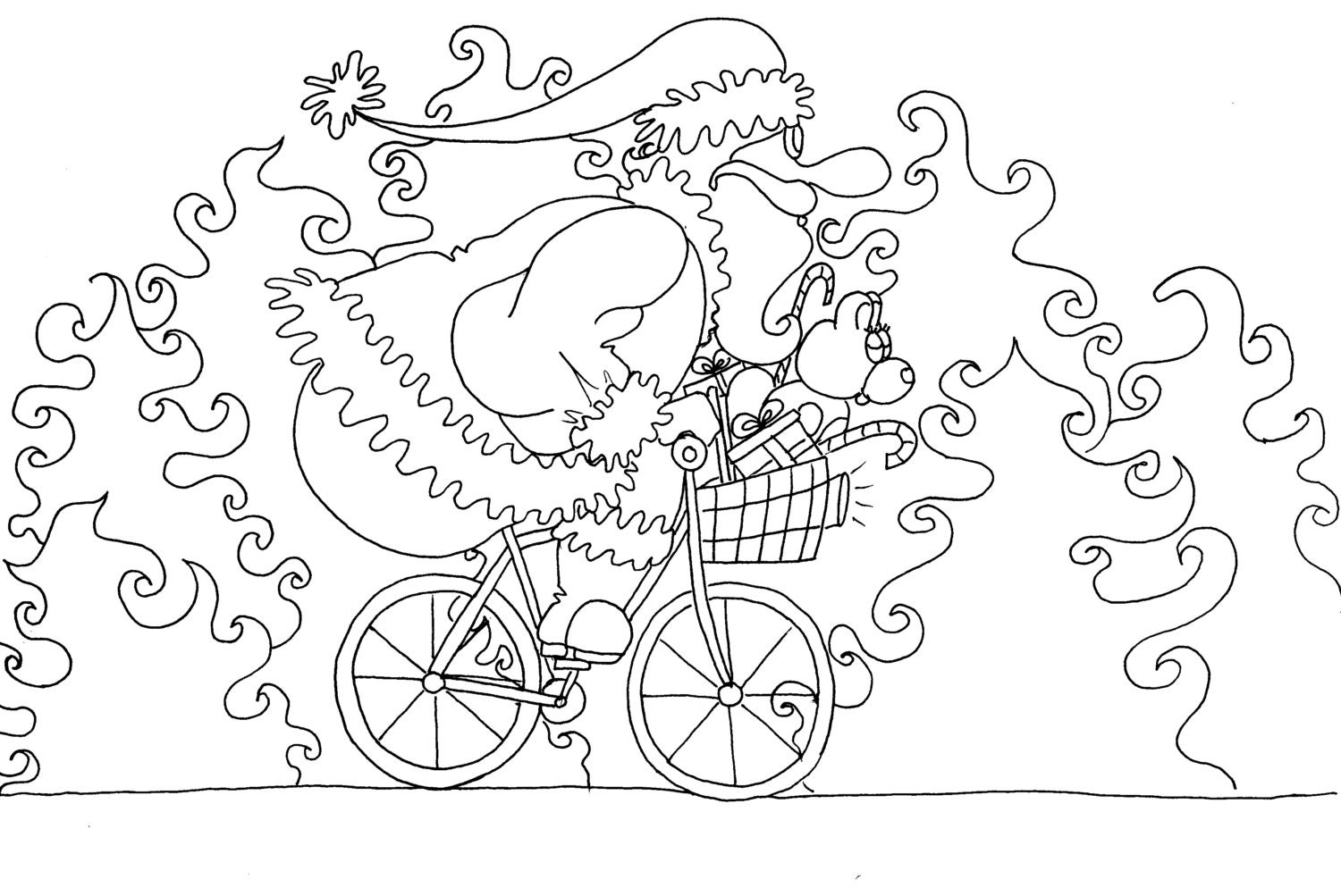 Cycling Santa Christmas Coloring Pages For Adults From The