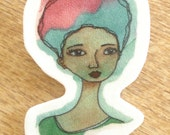 African American Small Shrink Plastic Brooch