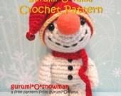amigurumi Snowman crochet pattern, stuffed plush snowman Christmas free diy pattern, please see description for detail