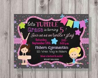 DIGITAL Gymastics Tumbling Glitter & Chalkboard Stars Birthday Girl Party Invitation