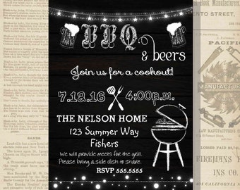 Digital Rustic BBQ Barbecue and Beers Summer Cookout Party Invitation Printable