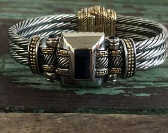 Vintage Silver tone 80's hinged Magnetic Bracelet Rope design Black stone