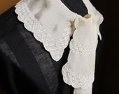 1930's Jabot Style Collar, Cream Crepe with Machine Embroidery